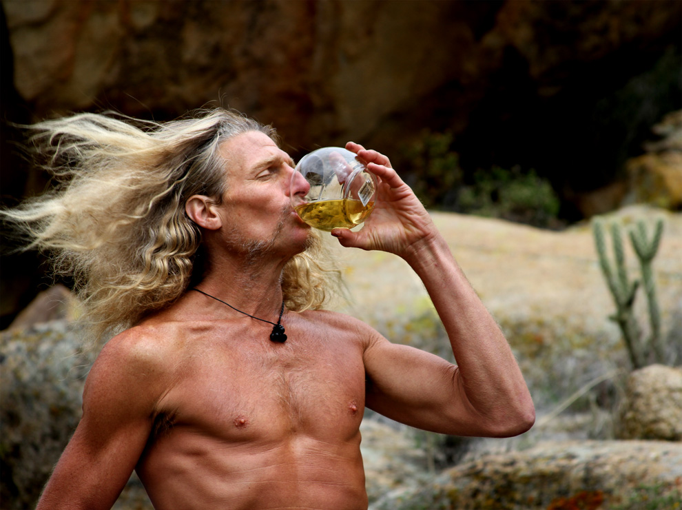 Boulevard, CA: Yogi Zen drinks his own urine in the wind outside his cave. (Photo Credit: National Geographic Channels)